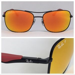Ray-Ban RB3515 Polarized Flash Black/Red size 61
